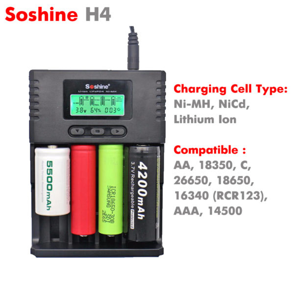 Soshine H4 LCD Universal Battery Charger for 14500 18350 18650 26650 Aa AAA C|for sale in South Africa-0