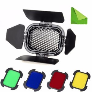 GODOX BD-07 BARNDOOR KIT WITH 4 COLOUR GELS FOR AD200 SPEEDLIGHT HEAD