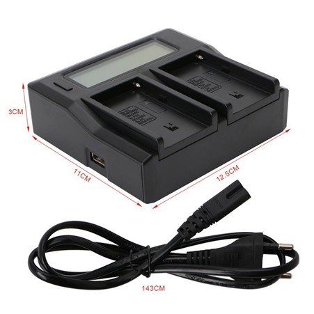 GPB Dual Charger with LCD Display for Sony NP-F550, NP-F750 & NP-F970 Batteries