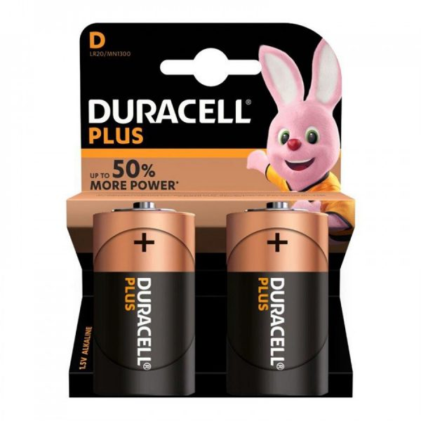 Duracell MN1300 Plus Power D Size Batteries, Pack of 2